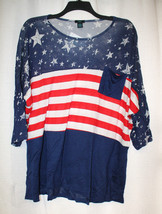 NEW WOMENS PLUS SIZE 3X BLUE STARS & STRIPES DOLMAN SHIRT TOP - $18.37