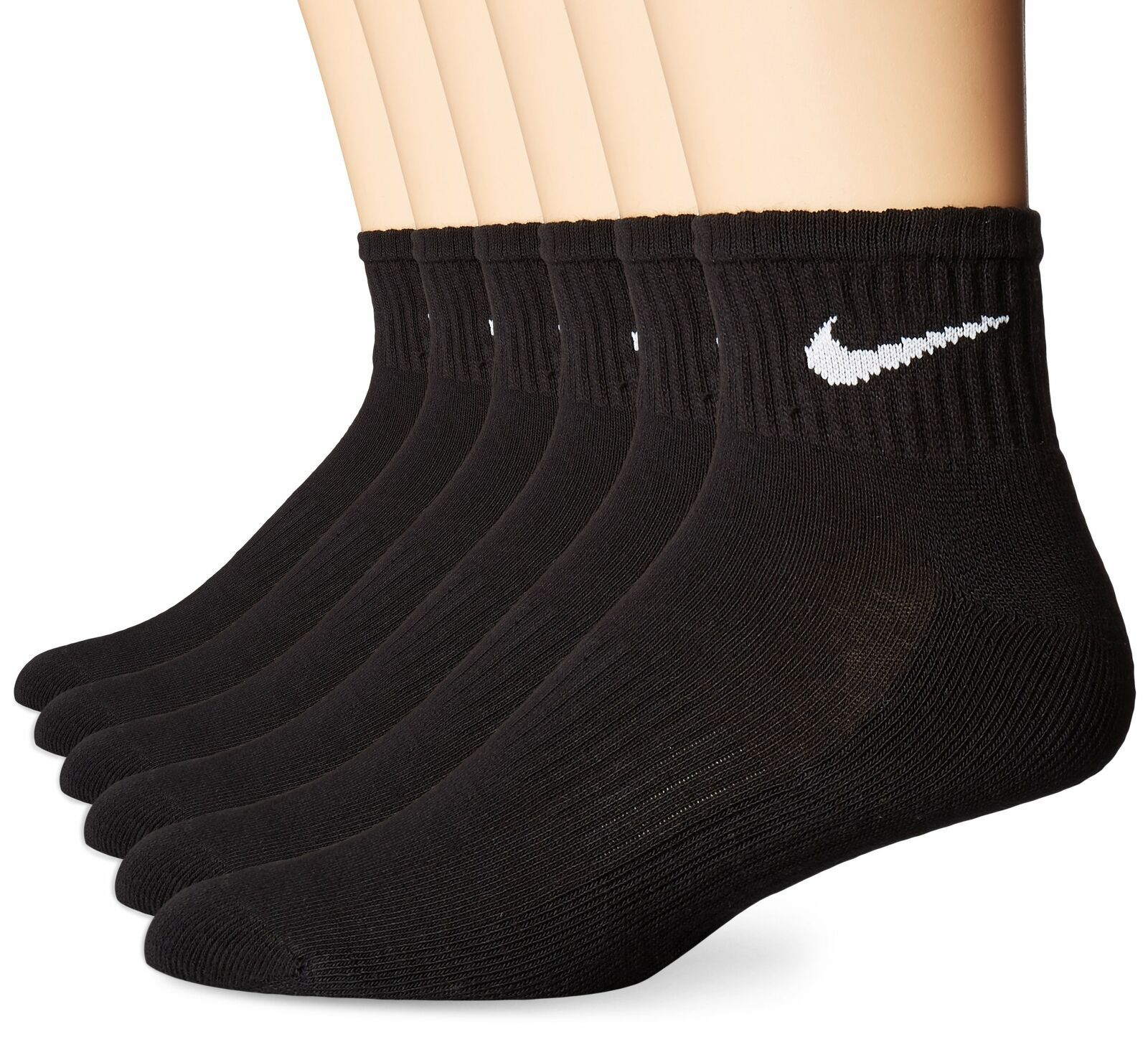 Primary image for NIKE Performance Cushion Quarter Socks with Bag (6 Pairs) Medium Black/White