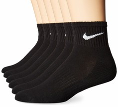 NIKE Performance Cushion Quarter Socks with Bag (6 Pairs) Medium Black/White - $28.70