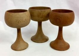 "Set of 3 Vintage Hand Turned Wooden Goblets, 5"" Tall - $18.99"