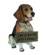 World Of Wonders Resin Outdoor Statues Buddy The Beagle Dog Statue with Reversib - $51.45