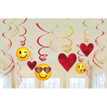 Emoji Valentines Day 12 Ct Hanging Swirls Decorations Value Pack - $6.49