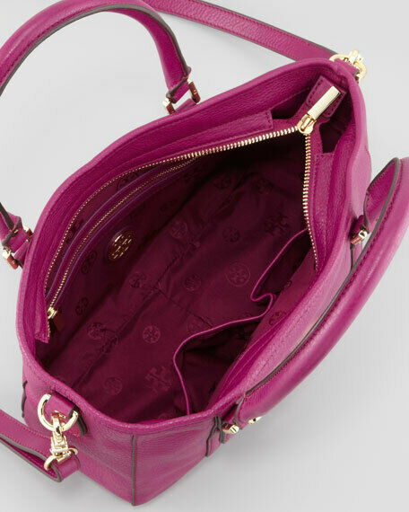 NWT Tory Burch Fuchsia Pink Amanda Leather Satchel Shoulder Bag image 2