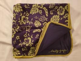 Baby Gap cotton blanket navy blue green tropical Hawaiian hibiscus flower boy - $49.49