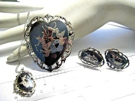 Vintage Sterling Silver Siam Niello Goddess Jewelry Set Necklace Earring... - $80.32