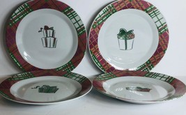 "Christmas Set Of 4 Salad/ Dessert Plates By PAI Holiday Gifts 8""D - $24.74"
