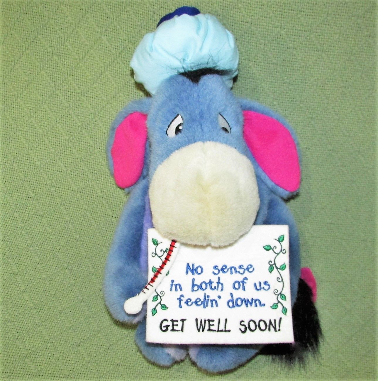 "EEYORE Get Well Plush ICE BAG Thermometer Sign 13"" Plush Stuffed Pooh Disney Toy"