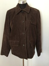 J Crew Women Jacket Barn Coat M Medium Brown Corduroy Button Front Lined... - $29.69