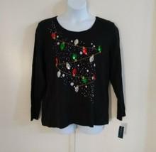 Karen Scott Women's Scoop Neck Long Sleeve Christmas Lights Sequin Black... - $29.71