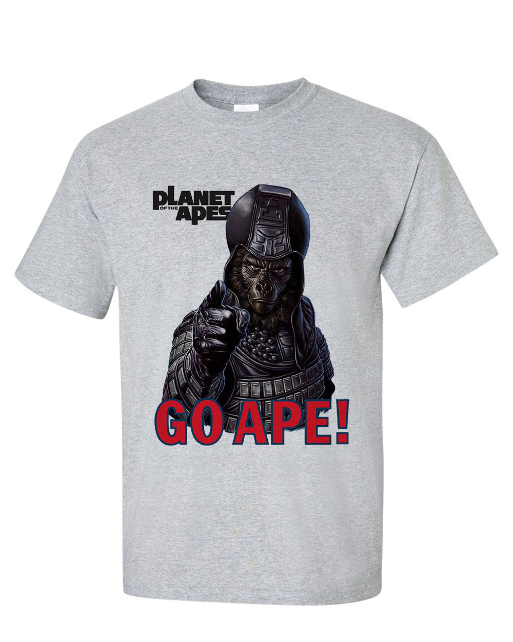 Planet of the Apes Go Ape!  T-shirt retro sci fi original film gray heather tee