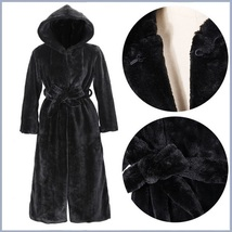 Big Hooded Sleek Black Mink Sable Faux Fur Long Pelt Parka Overcoat  image 2