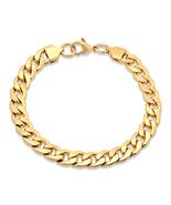 STEELTIME Men's 18K Gold Plated Stainless Steel cuban chain bracelet - $14.99