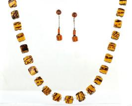 Vintage Retro Tortoise Shell Milk Art Glass Beaded Necklace Earrings Jewelry Set - $107.99
