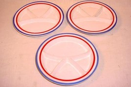 """3 RARE VTG 8 1/2"""" RED WHITE & BLUE HANDCRAFTED STONEWARE CHILD'S DIVIDED... - $46.39"""