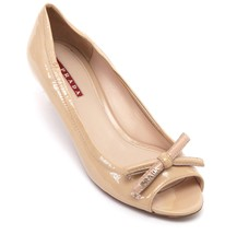 PRADA SPORT Patent Leather Nude Bow Peep Toe Pump Silver Kitten Heel Sz 37 - $185.25