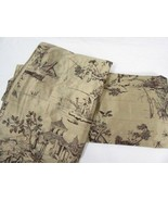 Oriental Asian Toile Gold Brown 2-PC 100 x 75 Lined Rod Pocket Drapery P... - $125.00