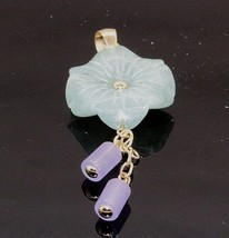 DIL - Vintage 14K Yellow Gold Multi-Color Jade Flower Dangle Pendant #20220 - $145.53