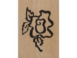 Denamid Design 1994 Stylized Flower Wood Mounted Rubber Stamp image 1