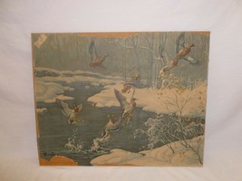 Vtg Retro Winter Duck Shabby Chic Cottage Cabin Hunting  Wall Hanging Ar... - $25.95