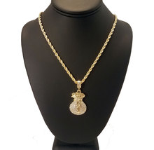 14k Gold Plated Iced Out Money Bags Necklace  - $24.99