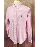 Ralph Lauren Polo Button Down Long Sleeve 100% Cotton Pink Stripe Shirt ... - $26.92