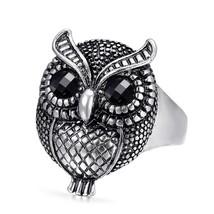 Wbmda Hot Owl Ring For Women Tibetan silver Mosaic Black Resin Party  Ri... - $19.30