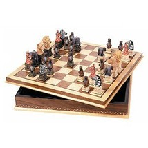 Wood Inlaid Chessboard with Storage - $71.35