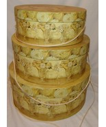 "Tri-Coastal Floral Stacking Hat Box Boxes Yellow Flowers 3 pcs Retro 16"" 14"" 12"" - $59.96"