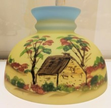 "Vintage Aladdin Oil Lamp Farm House Reverse Painted Glass Shade 9 1/2"" wide - $111.27"