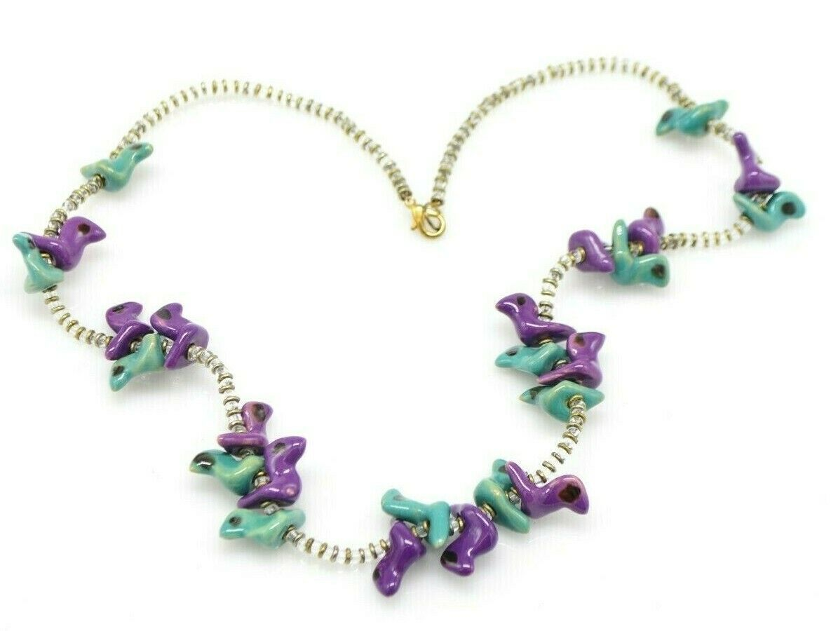 Primary image for Purple Blue Porcelain Glazed Bird Fetish Clear Glass Bead Necklace Vintage