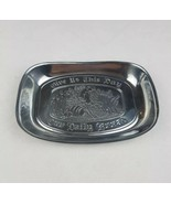 Vtg Duratale By Leonard pewter tray Give Us This Day Our Daily Bread sil... - $21.78