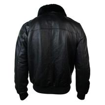 Mens G1 Aviator Air Force Pilot Fur Collar B3 Bomber Black Faux Leather Jacket image 3