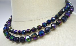Black Aurora Borealis Glass Bead Beaded Double Strand Choker Necklace Vintage - $39.59