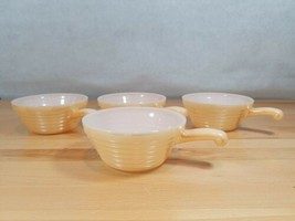 4 Vintage Fire King Lusterware Behive Ribbed Handled Soup Chili Bowls - $22.49