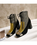 91B011 Lady's thick heeled booties in spell color,size 4-8.5, gold - $98.80