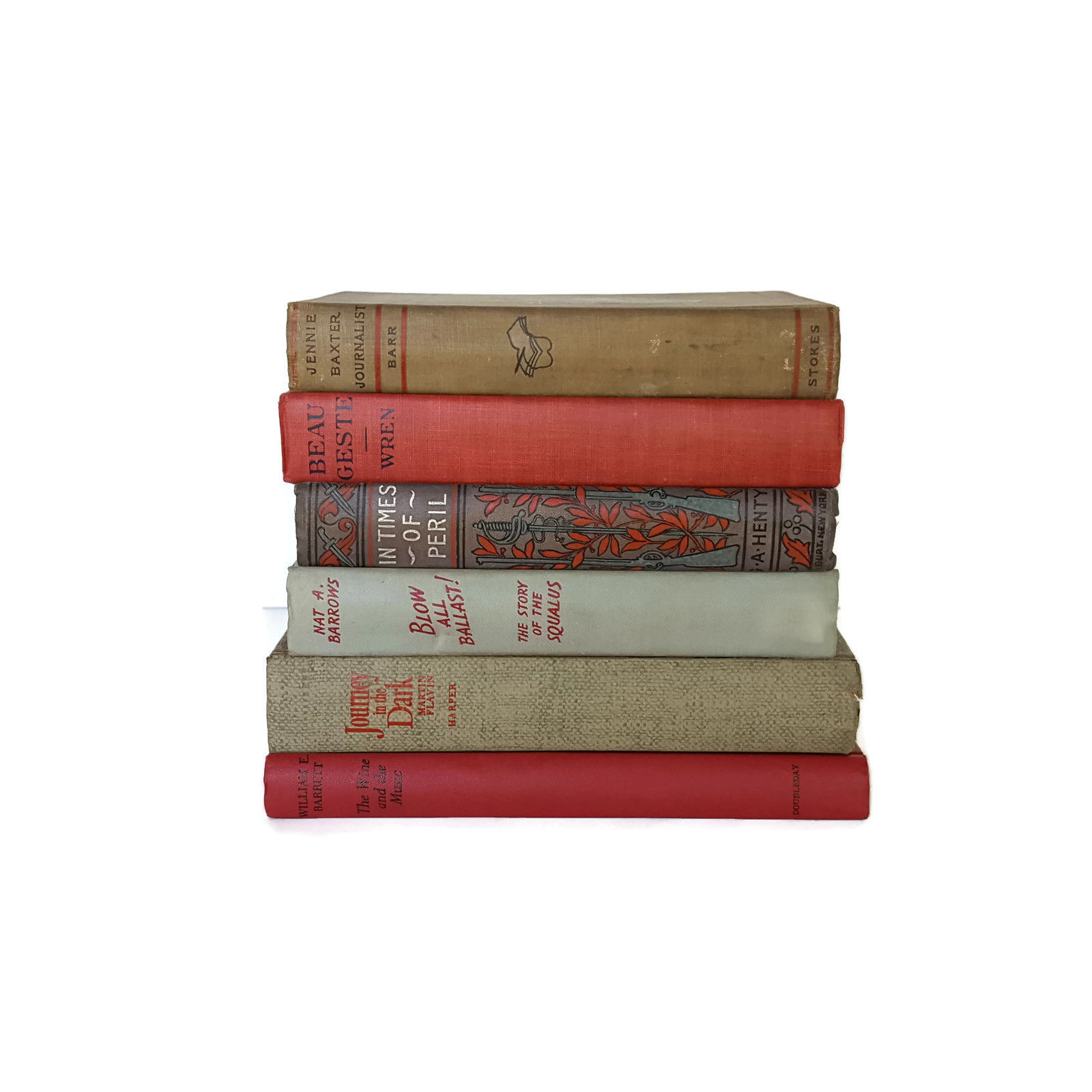 Vintage Book Stack Lot 6 Blue Red Grey Antique Farmhouse Wedding Decorative