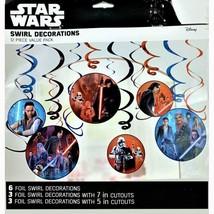 Star Wars Swirl Hanging Decorations The Last Jedi Birthday Party Supplies 12 Ct - $3.94