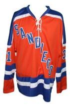 Custom Name # San Diego Mariners Retro Hockey Jersey New Orange Wakely Any Size image 4