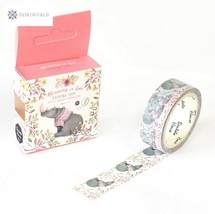 The Rhinoceros with Flowers Decorative Washi Tape DIY Scrapbooking Maski... - $2.54
