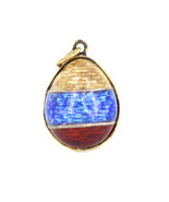 Antique Russian Sterling GP Guilloche Enamel Imperial Egg Necklace Penda... - $179.99