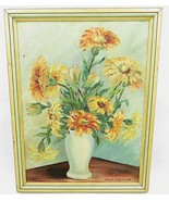 Original oil painting on canvas signed Jane Ziegler Daisy flowers in pot - $80.00