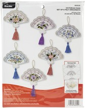 "Bucilla Felt Ornaments Applique Kit 5""X4.5"" Set Of 6-Victorian Fans - $26.57"