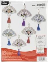 """Bucilla Felt Ornaments Applique Kit 5""""X4.5"""" Set Of 6-Victorian Fans - $24.09"""