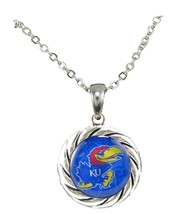 Kansas Jayhawks Blue Domed Circle Silver Chain Necklace Jewelry NCAA Gif... - $12.65