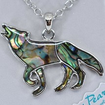 Storrs Wild Pearle Abalone Shell Howling Wolf Pendant w/ Silver Tone Necklace image 2