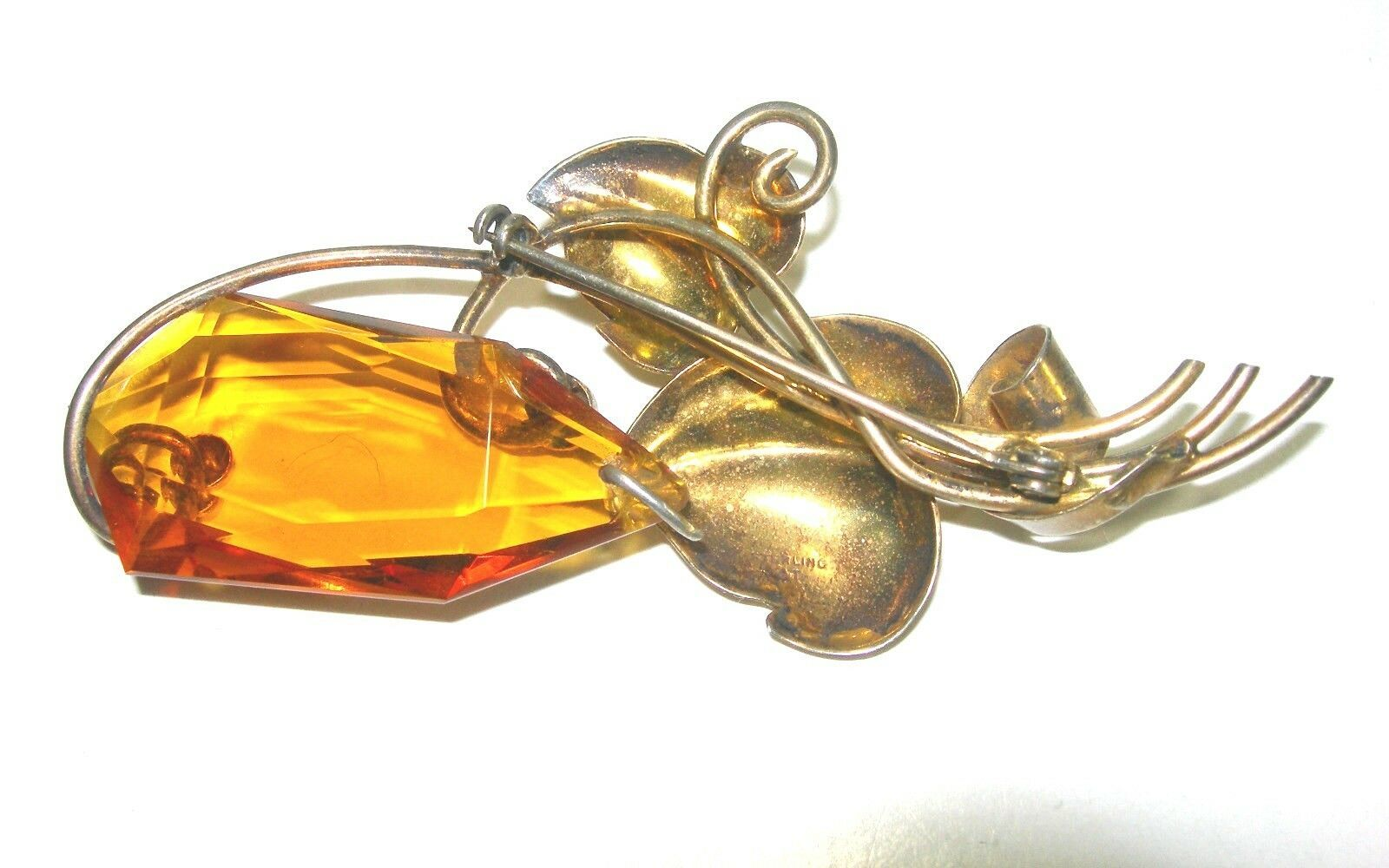 VINTAGE VERMEIL STERLING SILVER LARGE OPEN BACK YELLOW GLASS & LEAVES BROOCH PIN