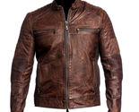 Mens Vintage Biker Motorcycle Distressed Brown Cafe Racer Genuine Leather Jacket - £79.47 GBP