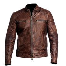 Mens Vintage Biker Motorcycle Distressed Brown Cafe Racer Genuine Leather Jacket - $68.00