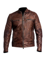 Distressed Brown Real Leather Jacket For Men Quilted Cafe Racer Retro Mo... - $128.00