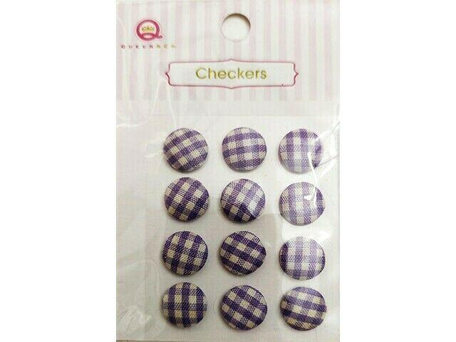 Queen & Company Checker Purple, Fabric Covered Dot Stickers